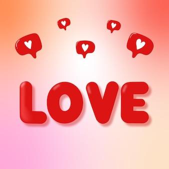 Ansichtkaart met de inscriptie love and likes