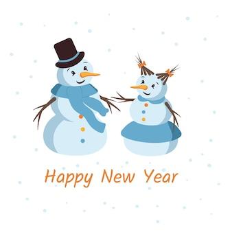 Ansichtkaart met een gelukkige sneeuwman en een sneeuwvrouw met een gezicht een hoed een wortel en een sjaal prettige vakantie ...