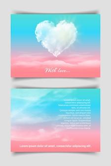 Ansichtkaart met een hart in de wolken
