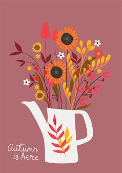 Ansichtkaart met een herfstboeket en het opschrift autumn is here. vectorafbeeldingen.