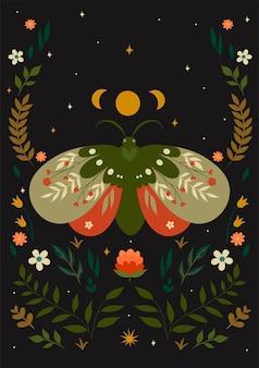 Ansichtkaart met een nachtvlinder in boho-stijl. vectorafbeeldingen.