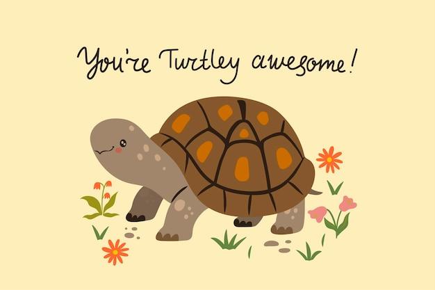 Ansichtkaart met een schattige schildpad. vectorafbeeldingen.