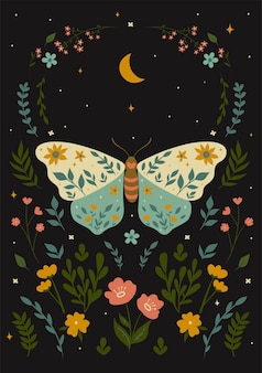 Ansichtkaart met een vlinder in boho-stijl. vectorafbeeldingen.