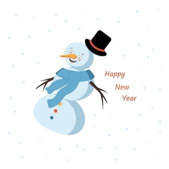 Ansichtkaart met een vrolijke sneeuwpop en vliegende hoed wortel en sjaal vrolijk kerstversiering voor nieuwe...