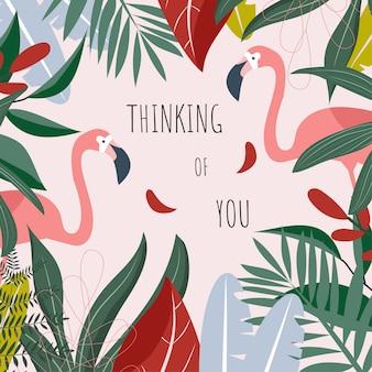 Ansichtkaart met flamingo's en de inscriptie