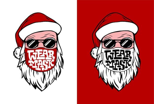 Ansichtkaart met hand getrokken kerstman in medisch masker