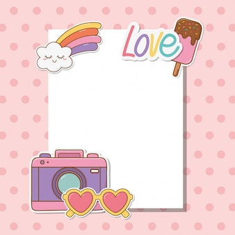 Ansichtkaart met kawaii stickers