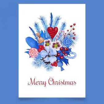 Ansichtkaart met kerstboeket