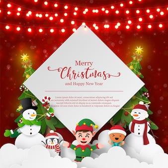 Ansichtkaart met kerstthema van sneeuwpop en vrienden