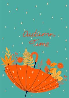 Ansichtkaart met paraplu en herfstbladeren. vectorafbeeldingen.