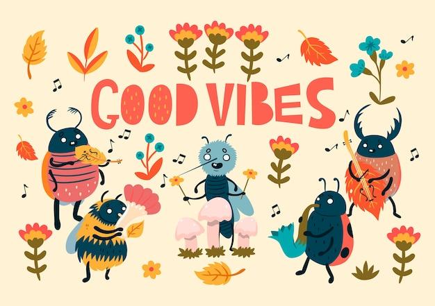 Ansichtkaart met schattige insecten en een inscriptie good vibes.