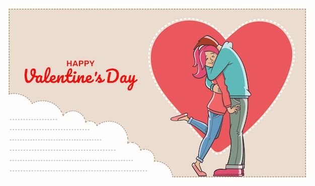 Ansichtkaart met tekstveld en loving man hugging a woman. valentijnsdag.