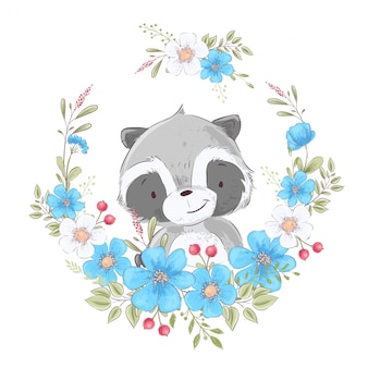 Ansichtkaart poster schattige kleine wasbeer in een krans van bloemen.