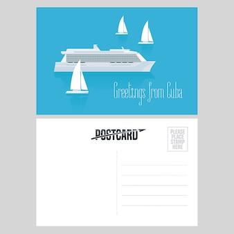 Ansichtkaart uit cuba en de caraïben met illustratie van cruiseschepen