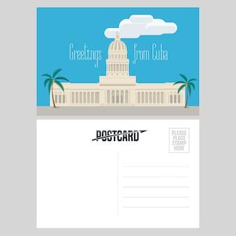 Ansichtkaart uit cuba met el capitolio-illustratie
