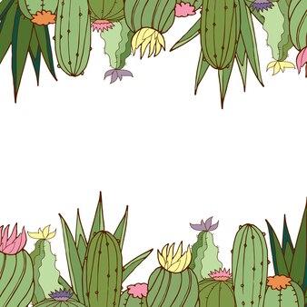 Ansichtkaart. vector. cactussen. heldere ansichtkaart. kleur illustratie.