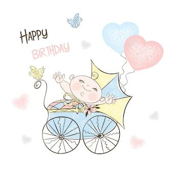 Ansichtkaart voor de geboorte van een jongen met een kinderwagen en ballonnen.