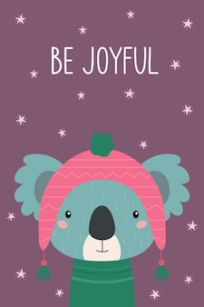 Ansichtkaart wees blij schattige koala in een roze hoed