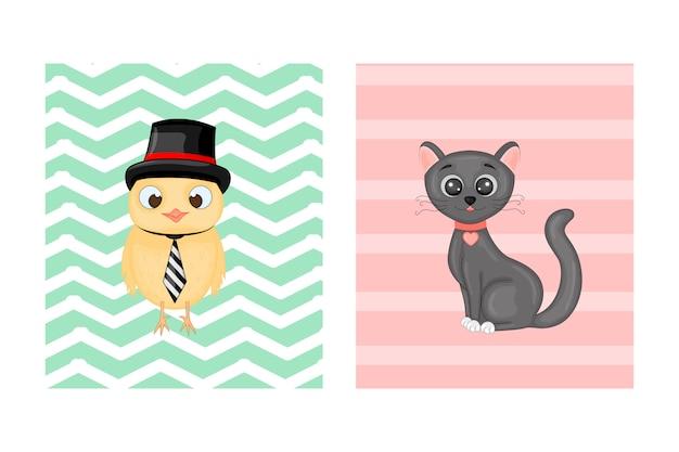 Ansichtkaarten met dieren. vector illustratie met uil en kat.