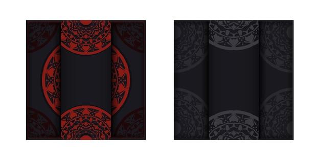 Ansichtkaartontwerp in zwarte kleuren met griekse patronen. uitnodigingskaartontwerp met ruimte voor uw tekst en luxe ornamenten.