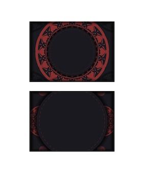 Ansichtkaartontwerp in zwarte kleuren met griekse patronen. vector uitnodigingskaart met plaats voor uw tekst en luxe ornament.