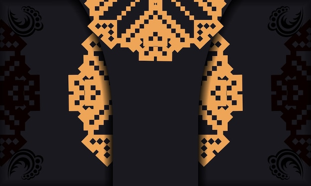 Ansichtkaartontwerp met luxe ornamenten. zwarte achtergrond met slavische vintage ornamenten en plaats voor uw logo en tekst.