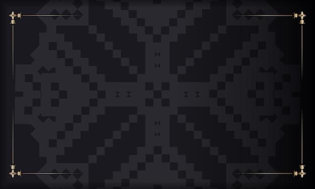 Ansichtkaartontwerp met luxe ornamenten. zwarte vectorachtergrond met sloveense ornamenten en plaats voor uw logo.