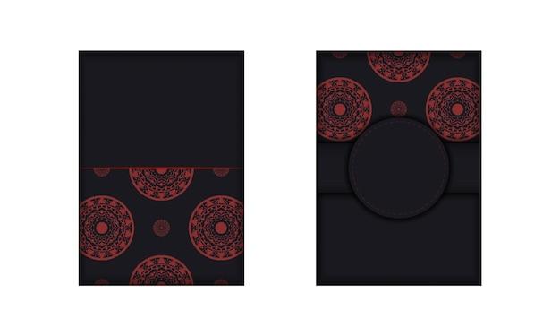 Ansichtkaartontwerp zwarte kleuren met grieks ornament. ontwerp van een uitnodiging met een plek voor uw tekst en luxe patronen.