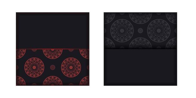 Ansichtkaartontwerp zwarte kleuren met grieks ornament. vector uitnodigingskaart met plaats voor uw tekst en luxe patronen.