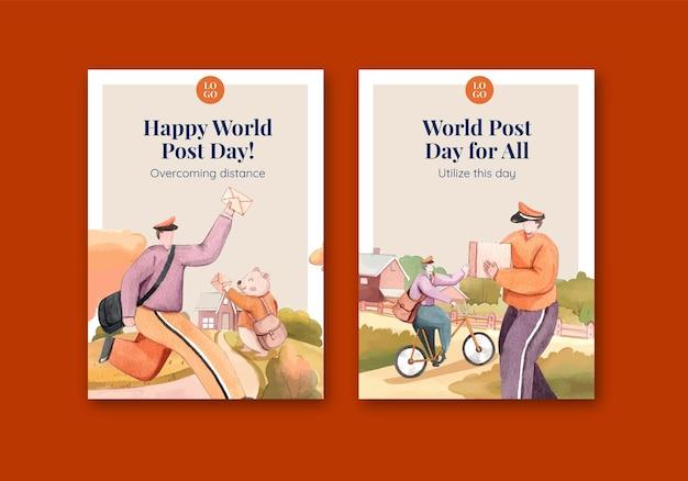 Ansichtkaartsjablonen voor wereldpostdag in aquarelstijl
