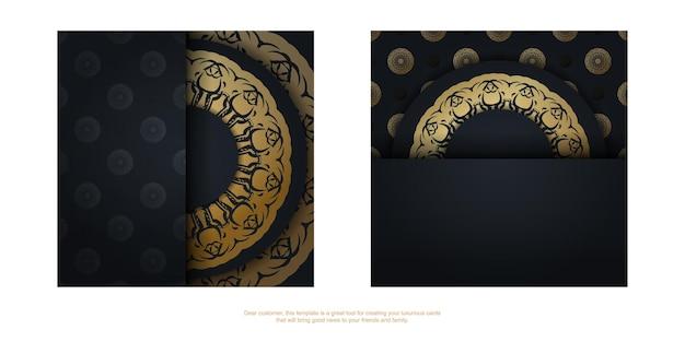 Ansichtkaartsjabloon in zwarte kleur met een luxe goudpatroon voor uw merk.