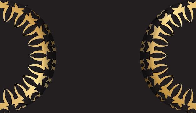 Ansichtkaartsjabloon in zwarte kleur met gouden luxepatroon