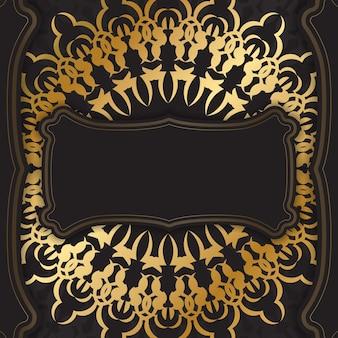 Ansichtkaartsjabloon in zwarte kleur met gouden vintage ornament