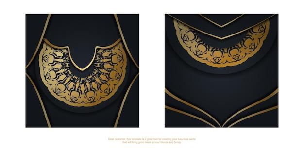 Ansichtkaartsjabloon in zwarte kleur met luxe gouden ornamenten voor uw ontwerp.