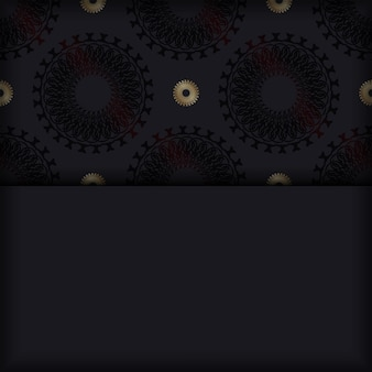 Ansichtkaartsjabloon in zwarte kleur met mandala-ornament