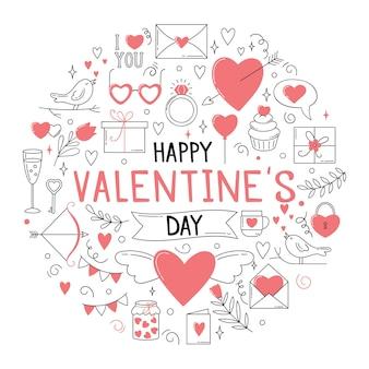Ansichtkaartsjabloon met een ronde compositie van letters en verschillende elementen voor valentijnsdag.