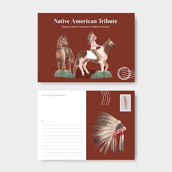 Ansichtkaartsjabloon met inheemse amerikaan in aquarelstijl