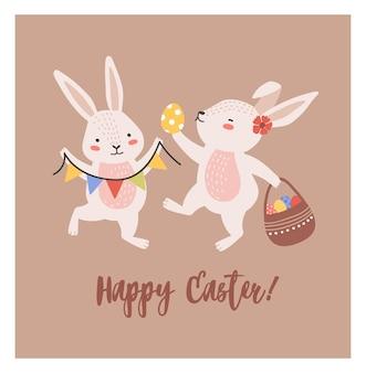 Ansichtkaartsjabloon met paar mooie konijntjes of konijnen met mand met versierde eieren en vlaggenkrans en happy easter wens handgeschreven met cursief lettertype.