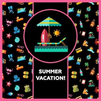 Ansichtkaartsjabloon van moderne vakantie pictogrammen aan zee en infographics elementen