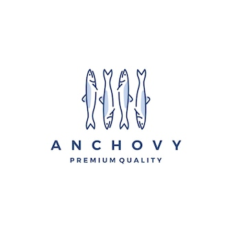 Ansjovis vis logo vector pictogram zeevruchten illustratie