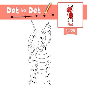 Ant-punt om spel en kleurboek te stippelen