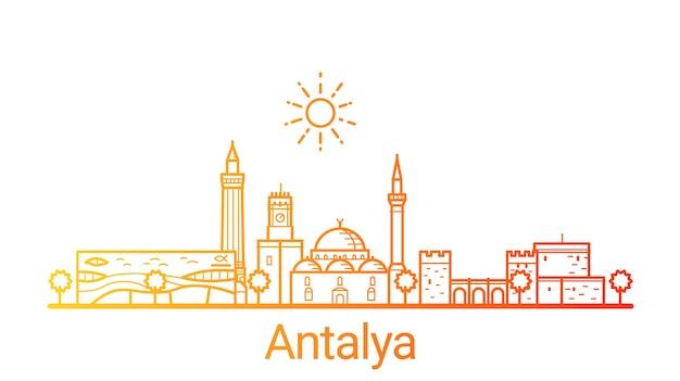 Antalya stad gekleurde verlooplijn