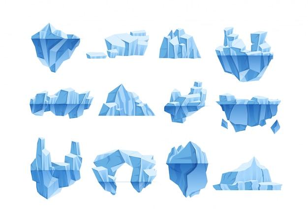 Antarctische winterlandschap voor game-design cartoon vectorillustratie
