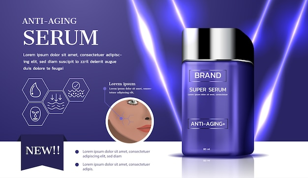 Anti-aging serum met lichtbundeladvertenties