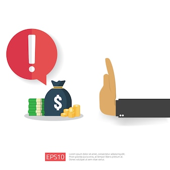 Anti-corruptie, stop en corrupt verval concept. zakelijke steekpenning met geld in een envelop en verbodswaarschuwingsbord. illustratie in vlakke stijl voor banner, achtergrond en presentatie