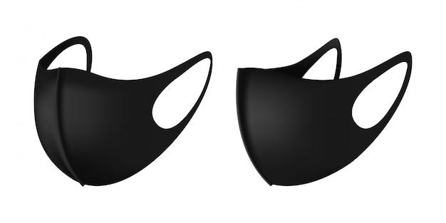 Anti-dust black gezichtsmasker voor hardlopen. 3d-realistische industriële veiligheid ademhalingsmasker in zwart. geïsoleerde illustratie in zij- en vooraanzicht. veilige ademhaling antivirusbescherming.