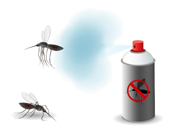 Anti-muggen spray illustratie concept Premium Vector