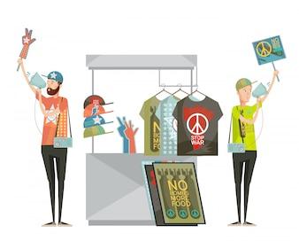 Anti oorlog propaganda ontwerpsamenstelling met twee jonge mannen reclame shirts zonder oorlogssymbolen cartoon