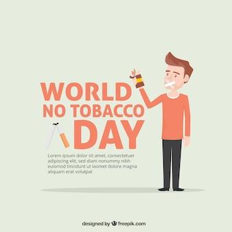Anti-smoking day achtergrond met karakter