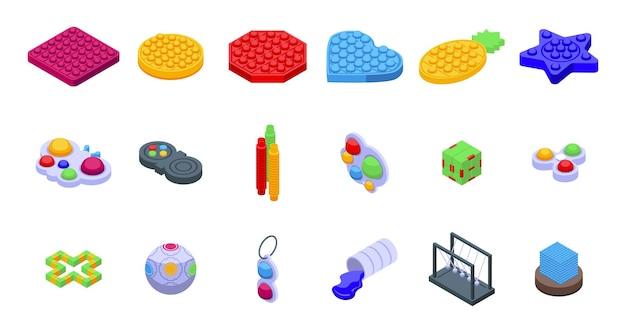 Anti-stressprogramma speelgoed pictogrammen instellen isometrische vector. eenvoudig kuiltje. sensorische bal